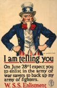 Vintage War Poster I am telling you--On June 28th I expect you to enlist in the army of war savers to back up my army of fighters